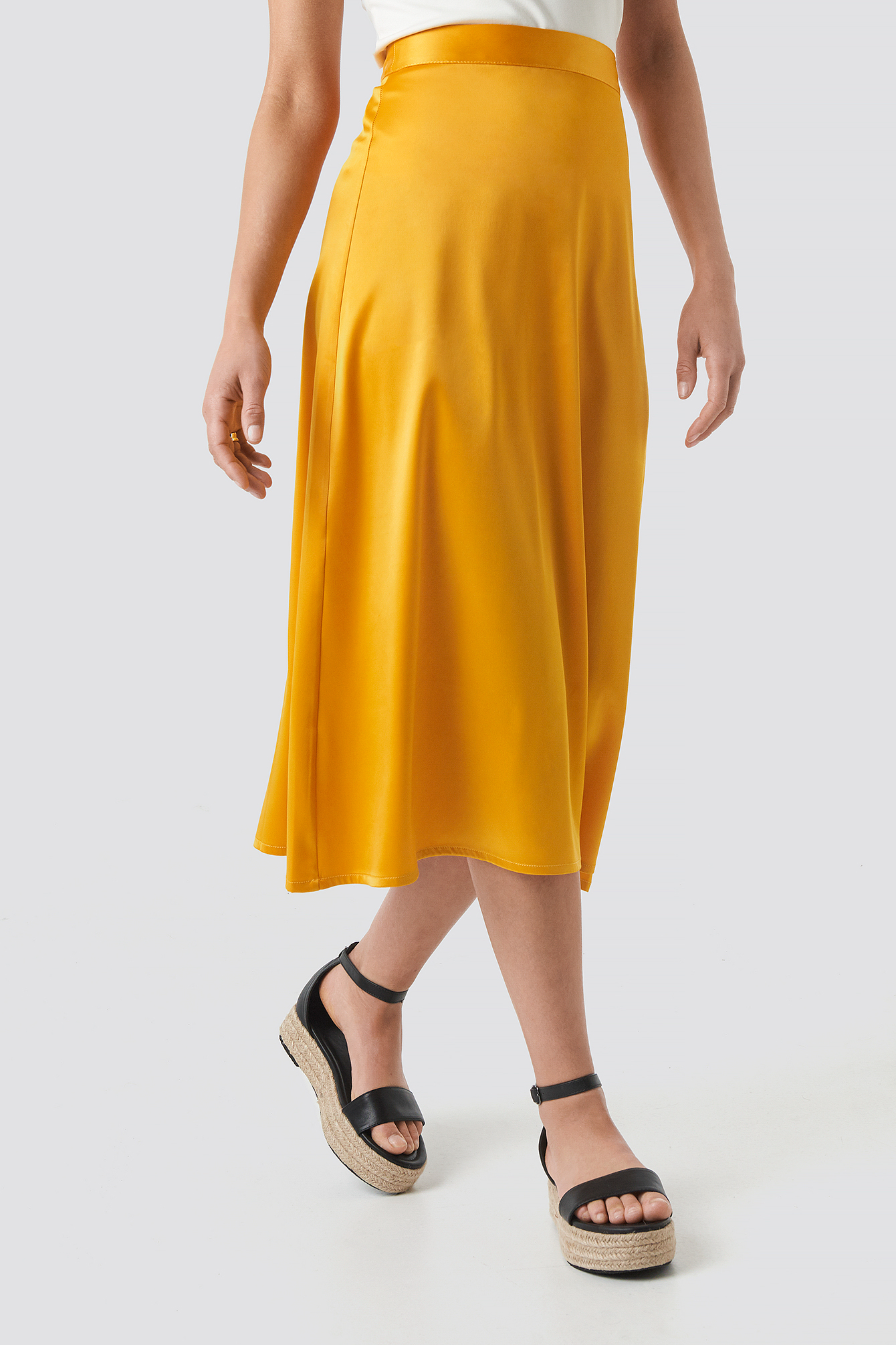 Bias Cut Satin Midi Skirt NA-KD.COM