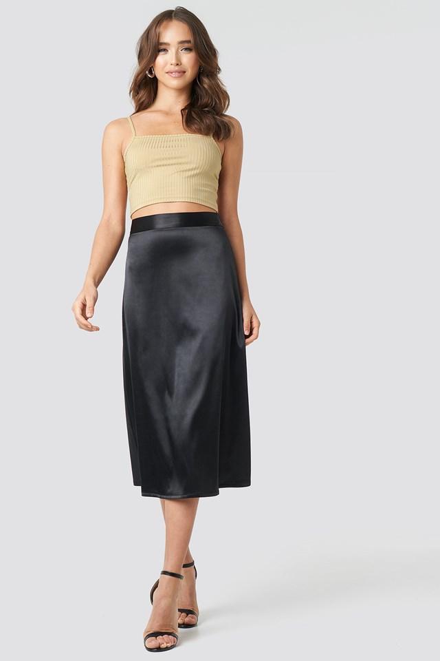 Bias Cut Satin Midi Skirt Black
