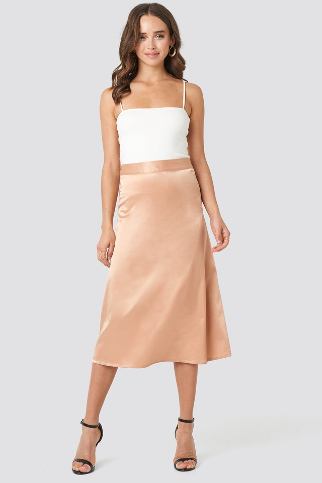Bias Cut Satin Midi Skirt Taupe