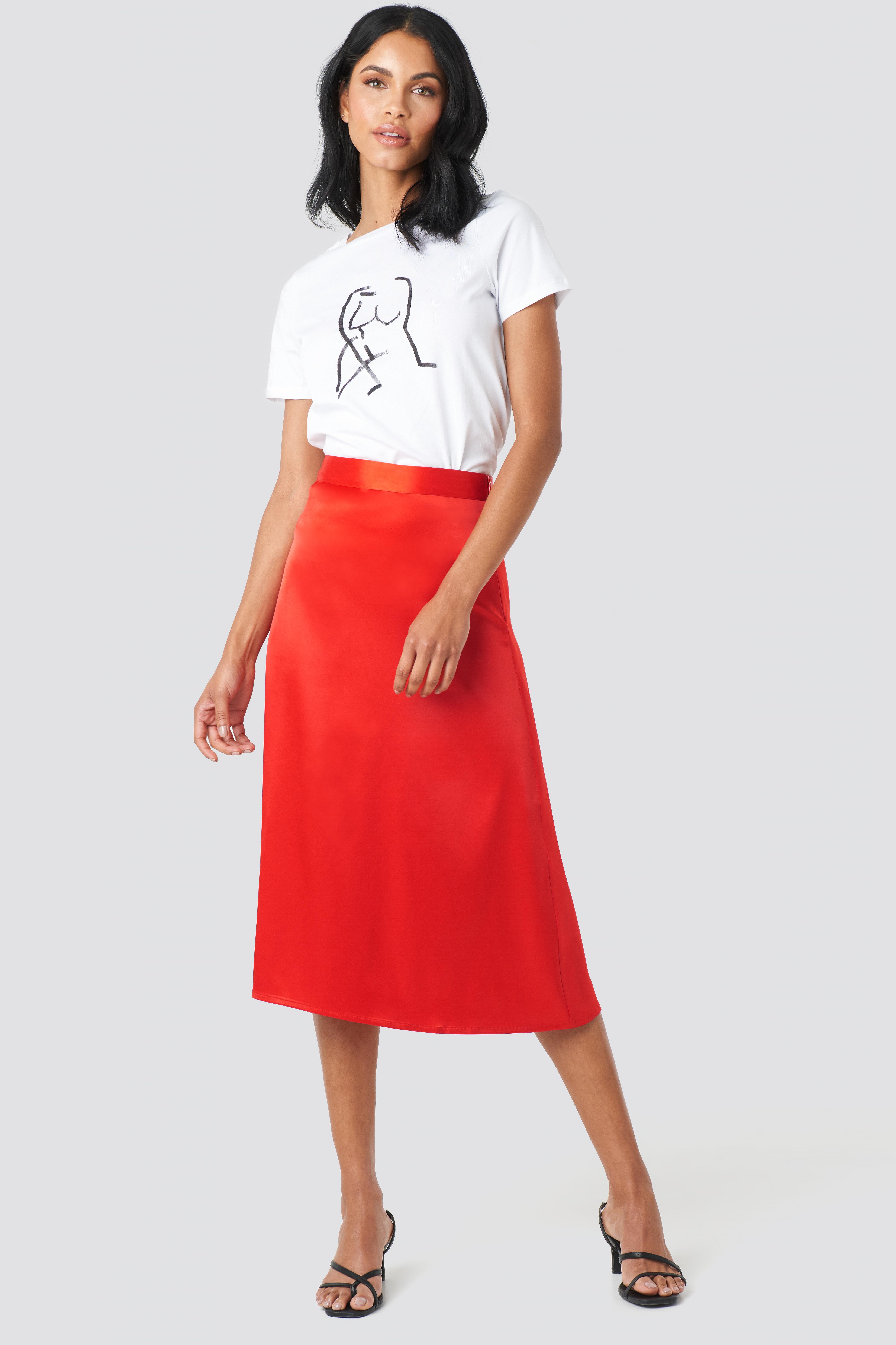 Bias Cut Satin Midi Skirt