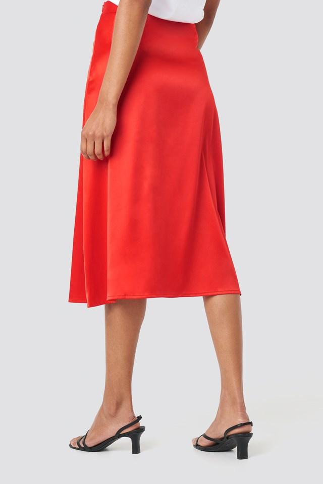 Bias Cut Satin Midi Skirt Red