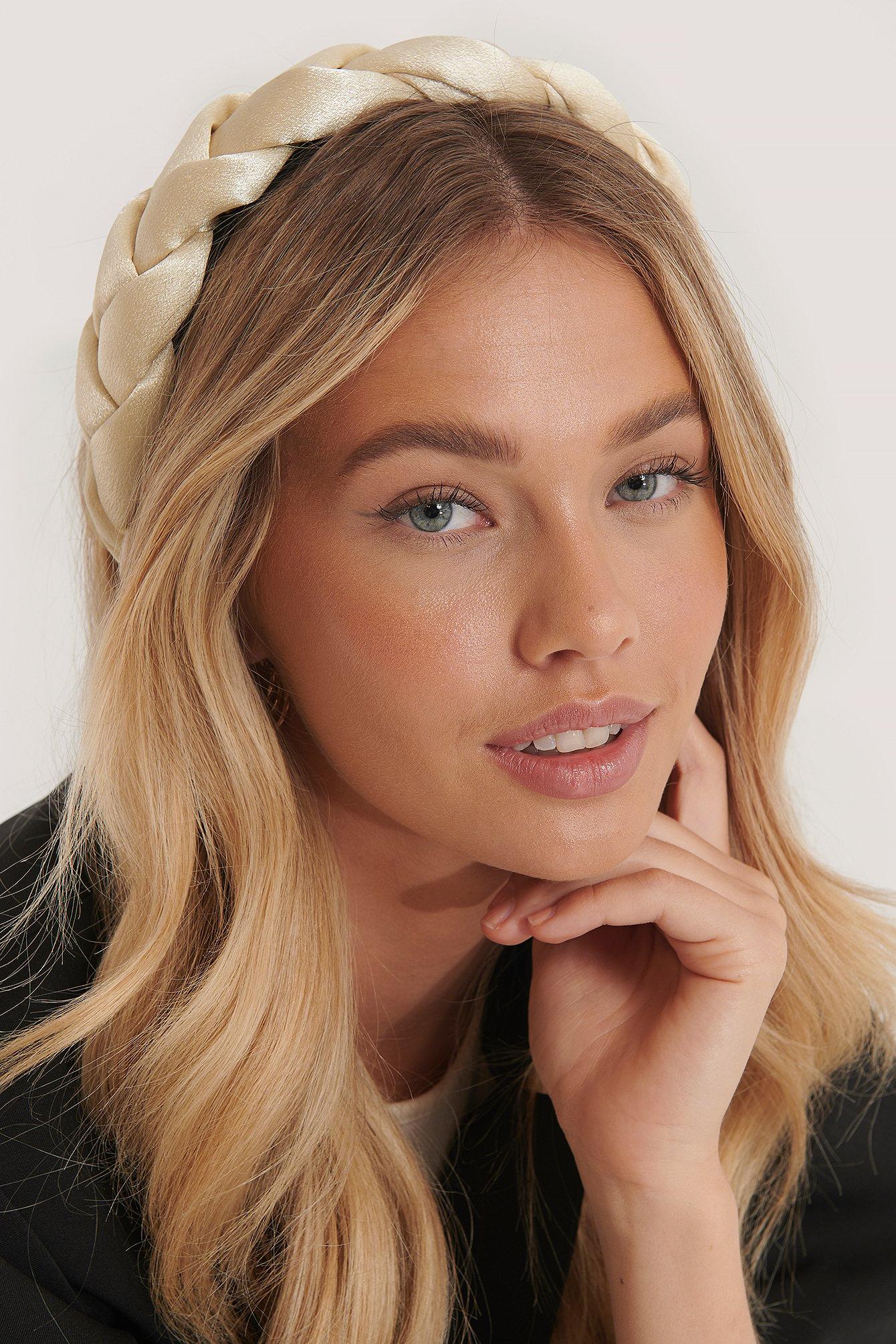 na-kd accessories -  Großer Geflochtener Haarreif - Offwhite