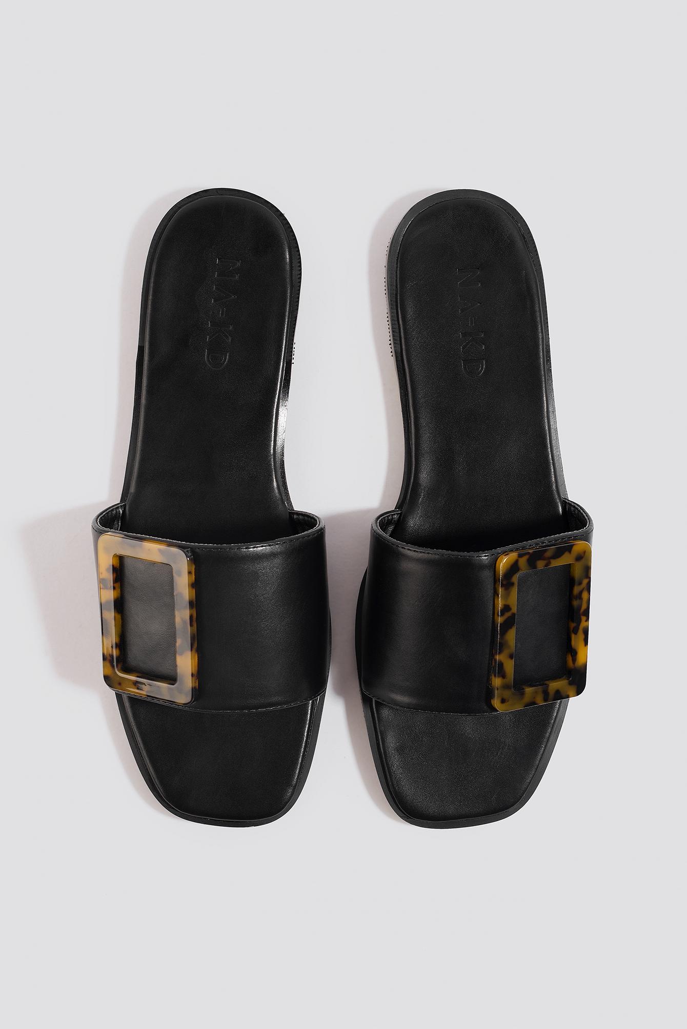 na-kd shoes -  Big Buckle Flats - Black