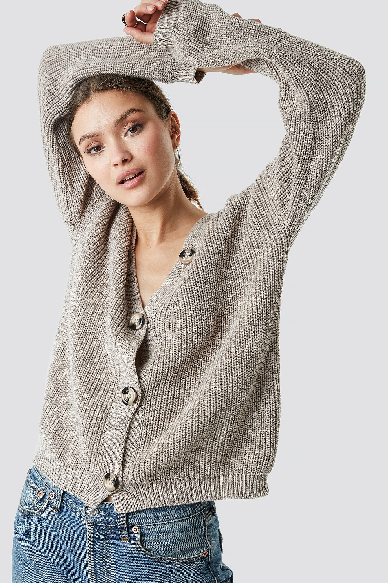 na-kd -  Big Button Knitted Cardigan - Beige