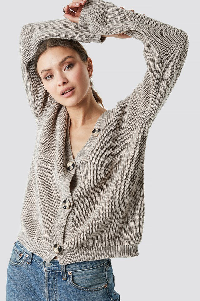 Big Button Knitted Cardigan Beige
