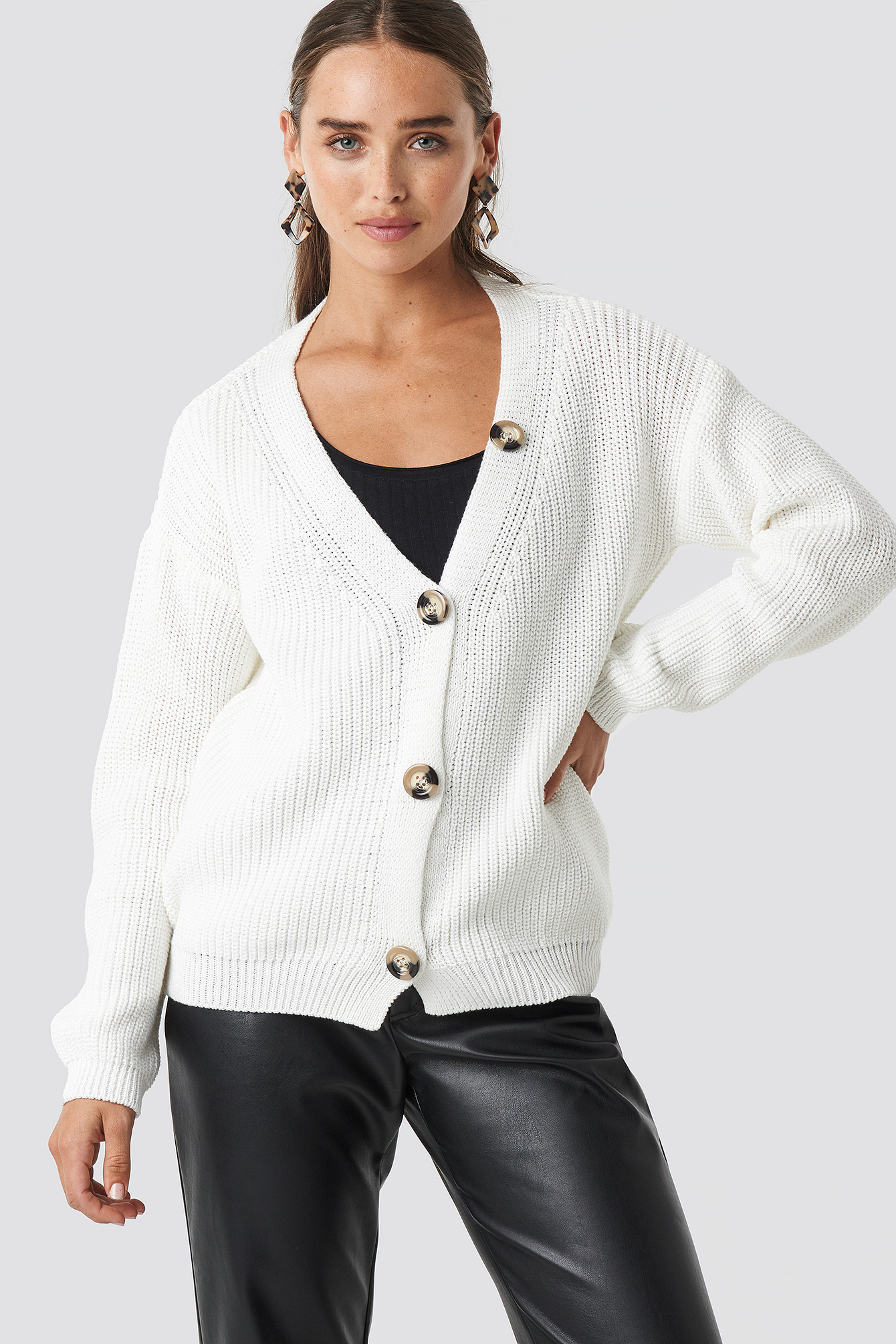 Big Button Knitted Cardigan NA-KD.COM