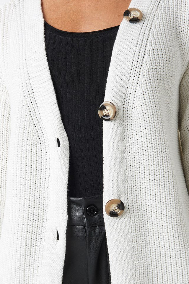 Big Button Knitted Cardigan Offwhite