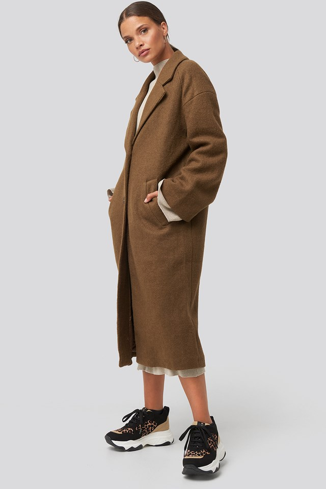 Big Button Long Coat NA-KD Trend