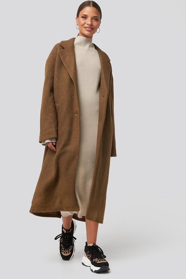 Big Button Long Coat Brown