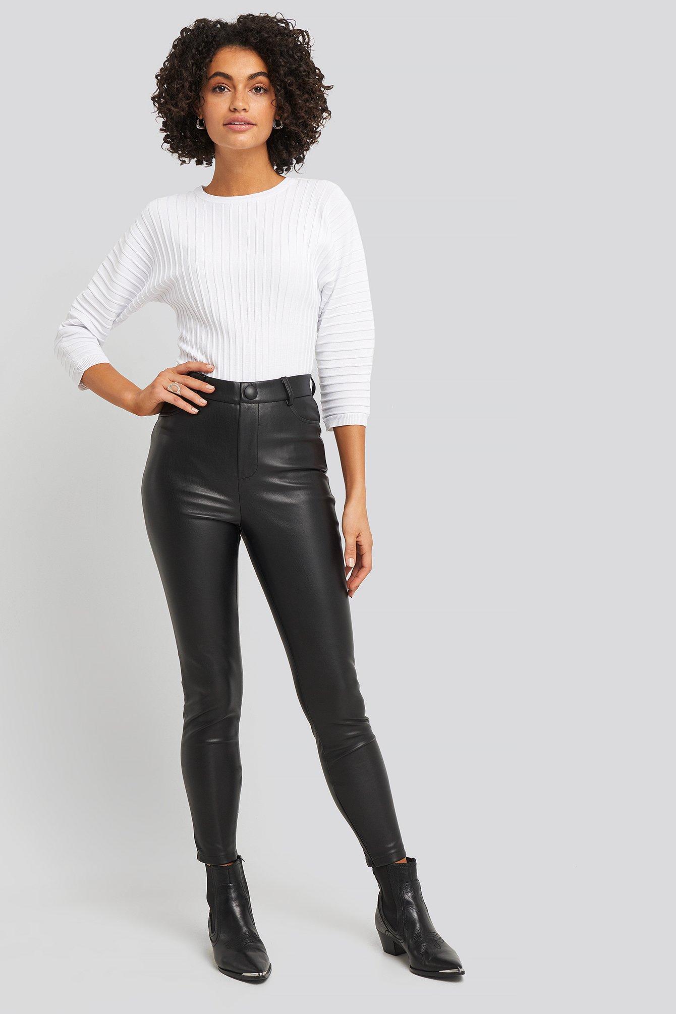 na-kd -  Big Button PU Pants - Black