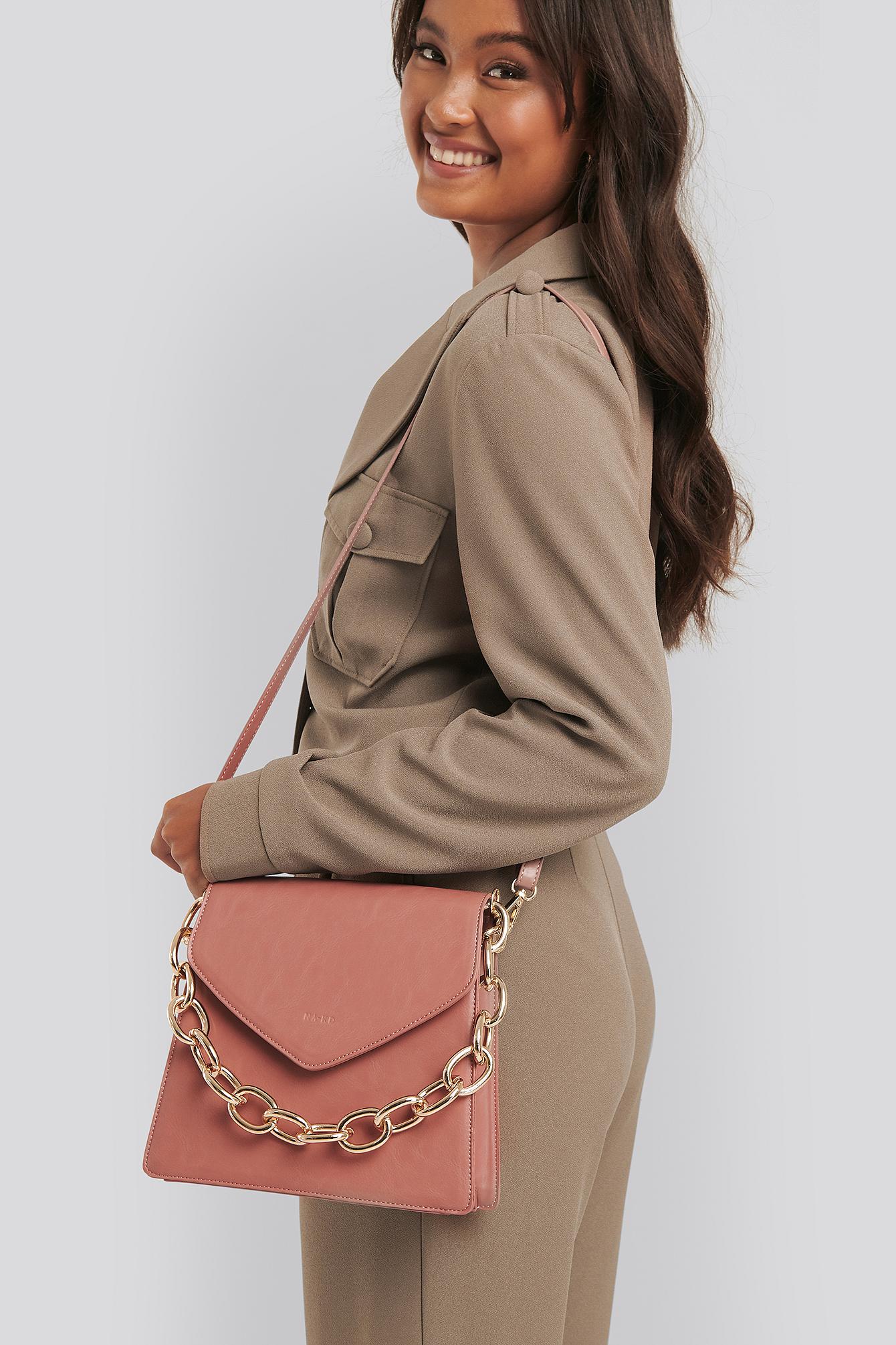 na-kd accessories -  Big Chain Trapeze Bag - Pink