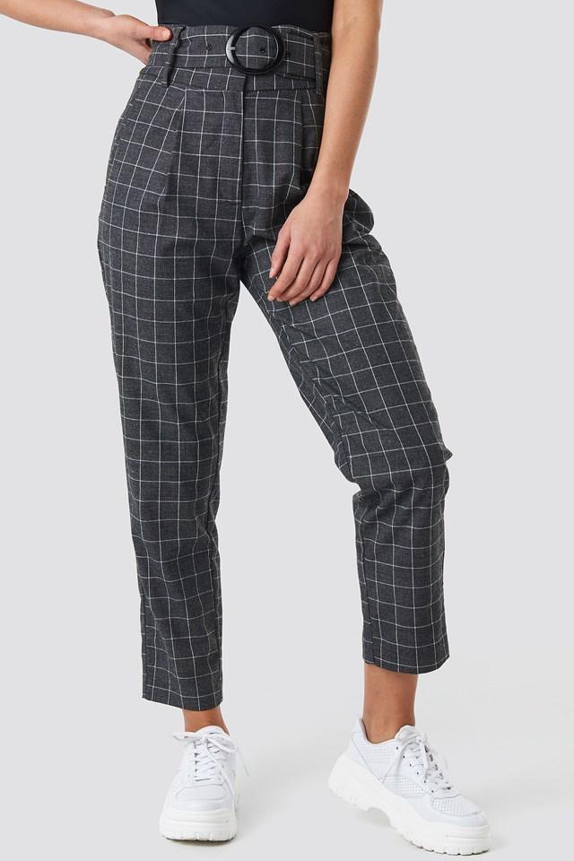 Big Check Asymmetric Belted Pants Grey