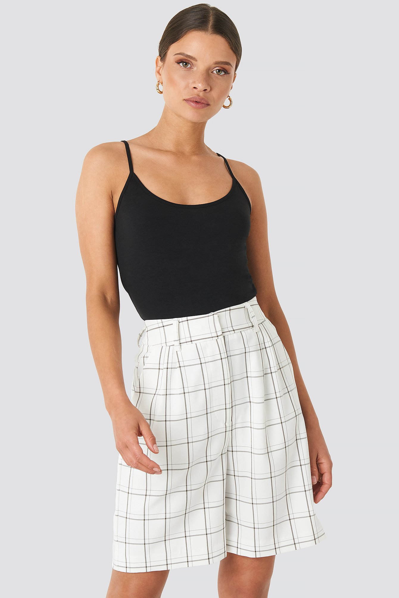 White/Black Big Check Bermuda Shorts