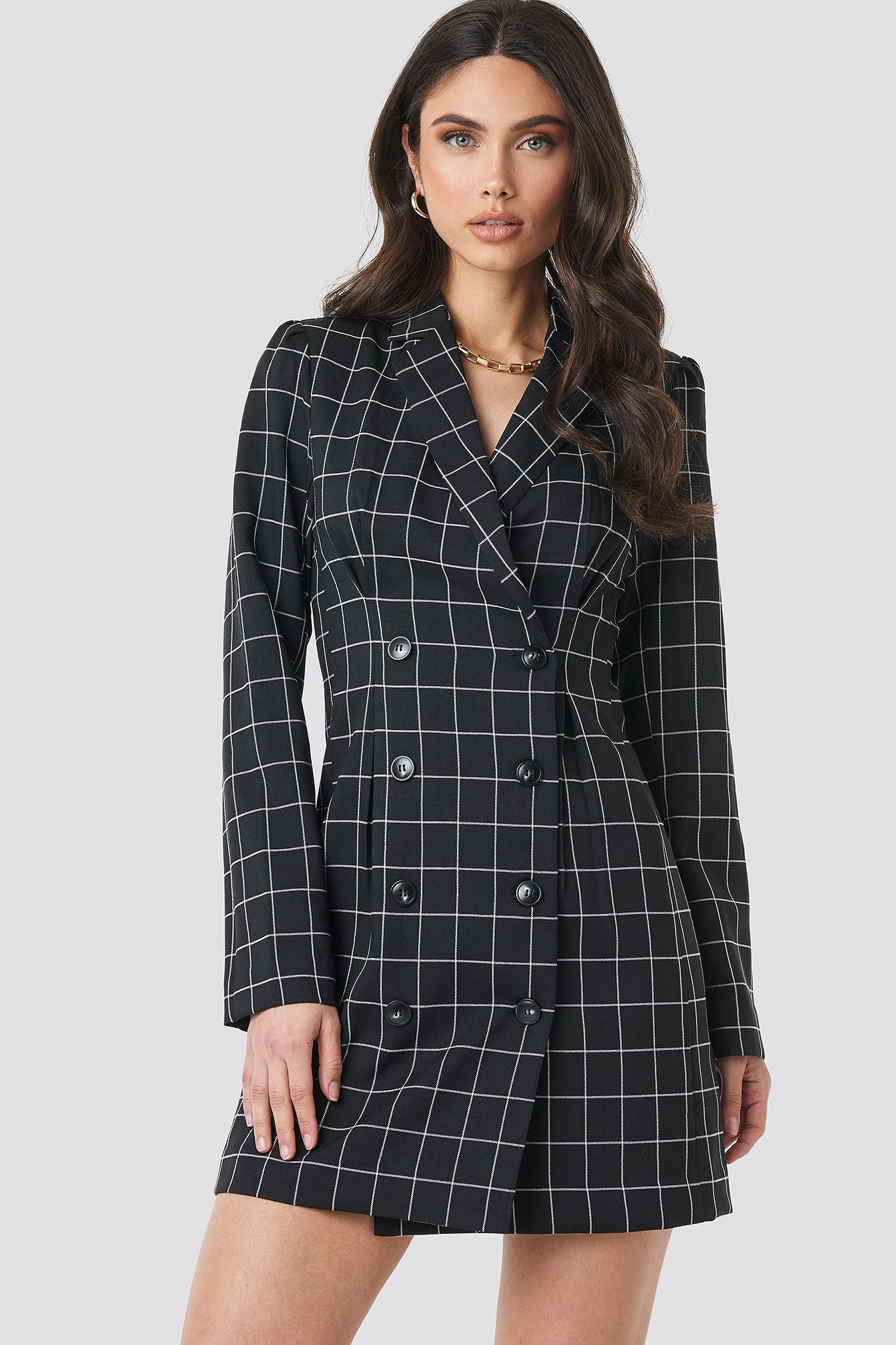 Big Check Blazer Dress Noir by Nakdclassic