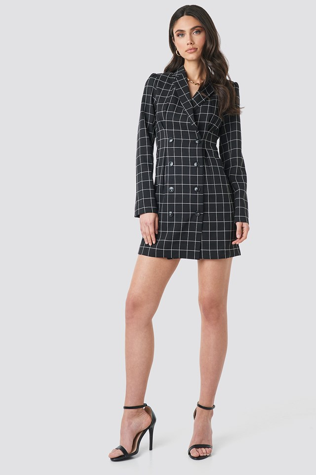 Big Check Blazer Dress Black/White Check