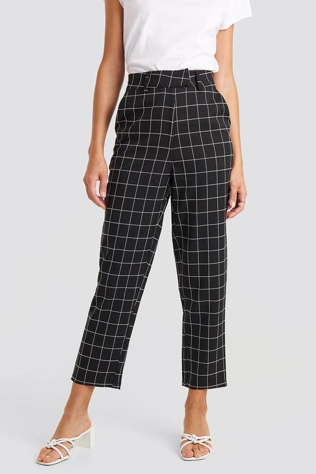 Big Check High Waist Suit Pants Black/White Check