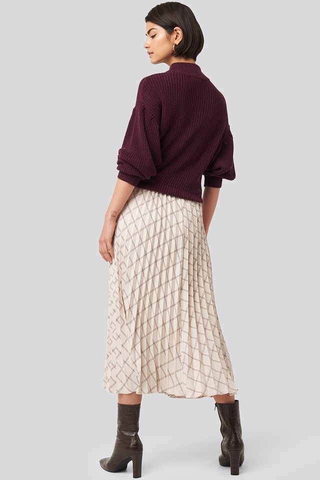 Big Check Pleated Skirt Sand