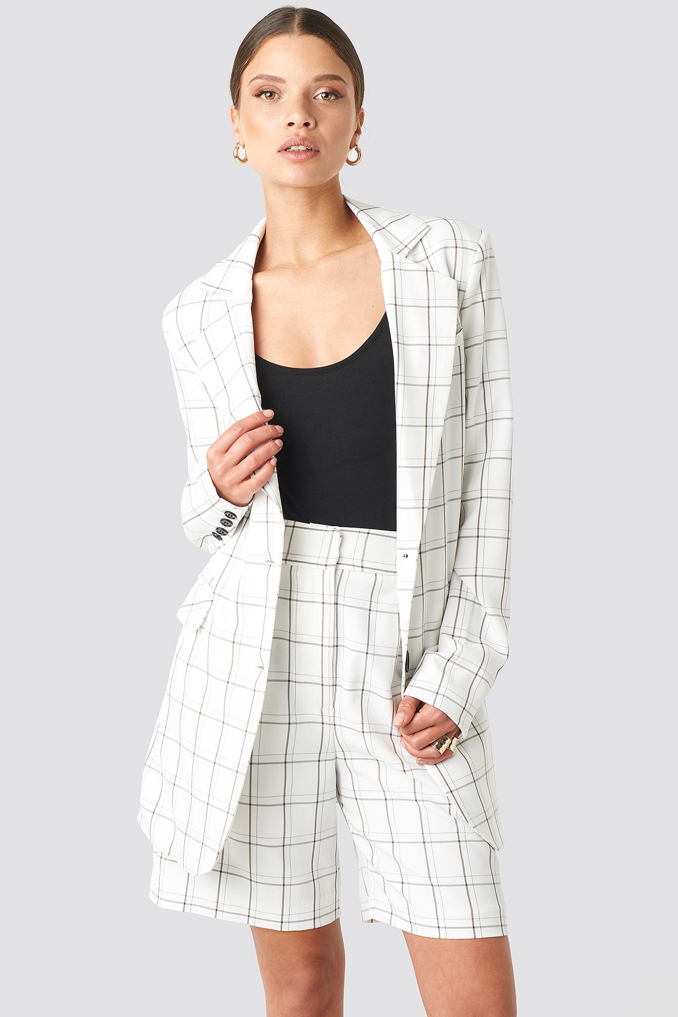na-kd classic -  Big Check Straight Fit Blazer - White