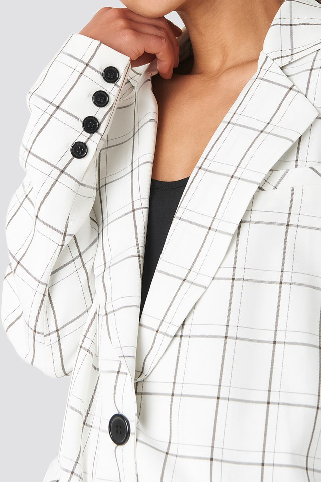 Big Check Straight Fit Blazer White/Black