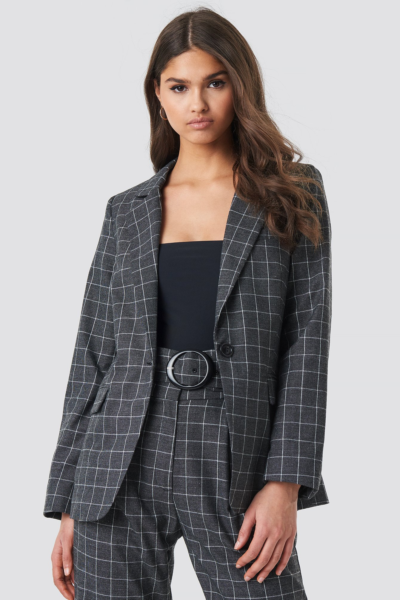 na-kd classic -  Big Check Straight Fitted Blazer - Grey