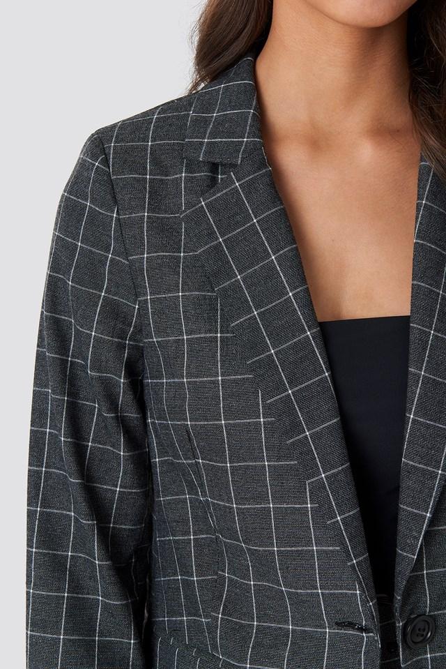 Big Check Straight Fitted Blazer Grey