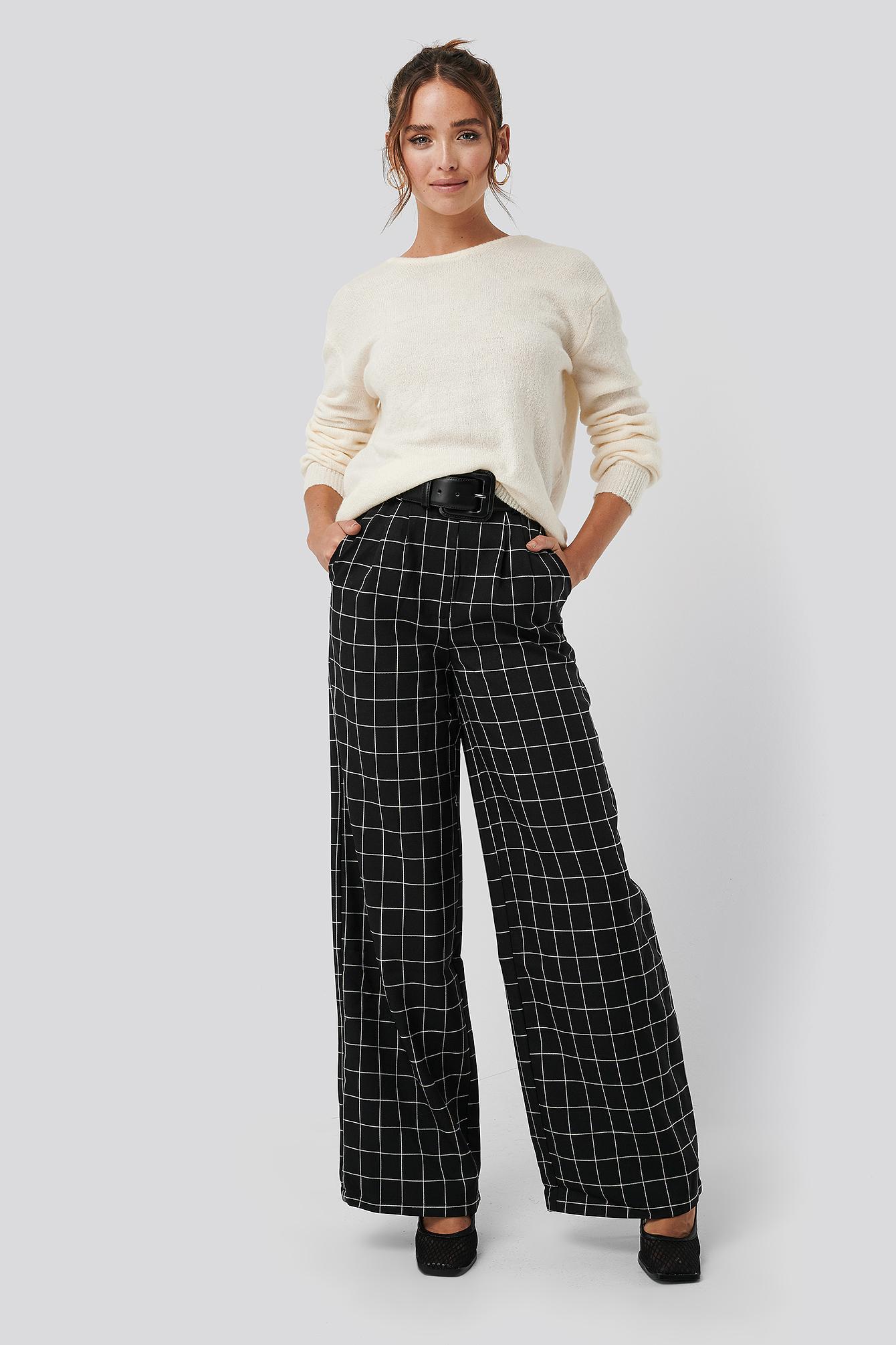 NA-KD Classic Big Check Wide Leg Pants - Black