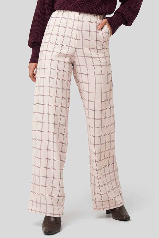 Big Check Wide Leg Suit Pants Sand