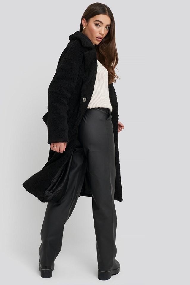 Big Collar Teddy Coat Black