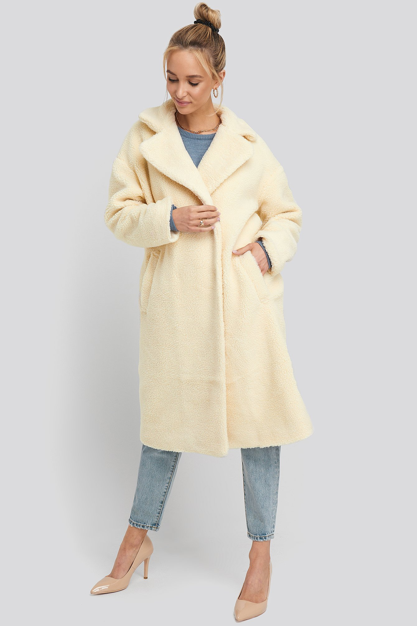 na-kd -  Big Collar Teddy Coat - White