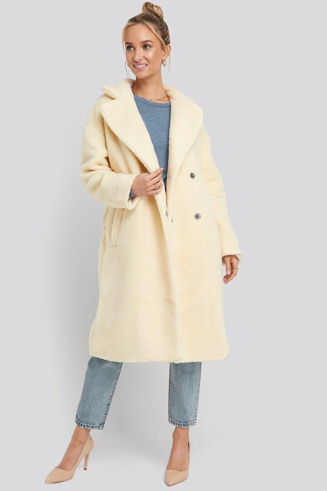Big Collar Teddy Coat Offwhite