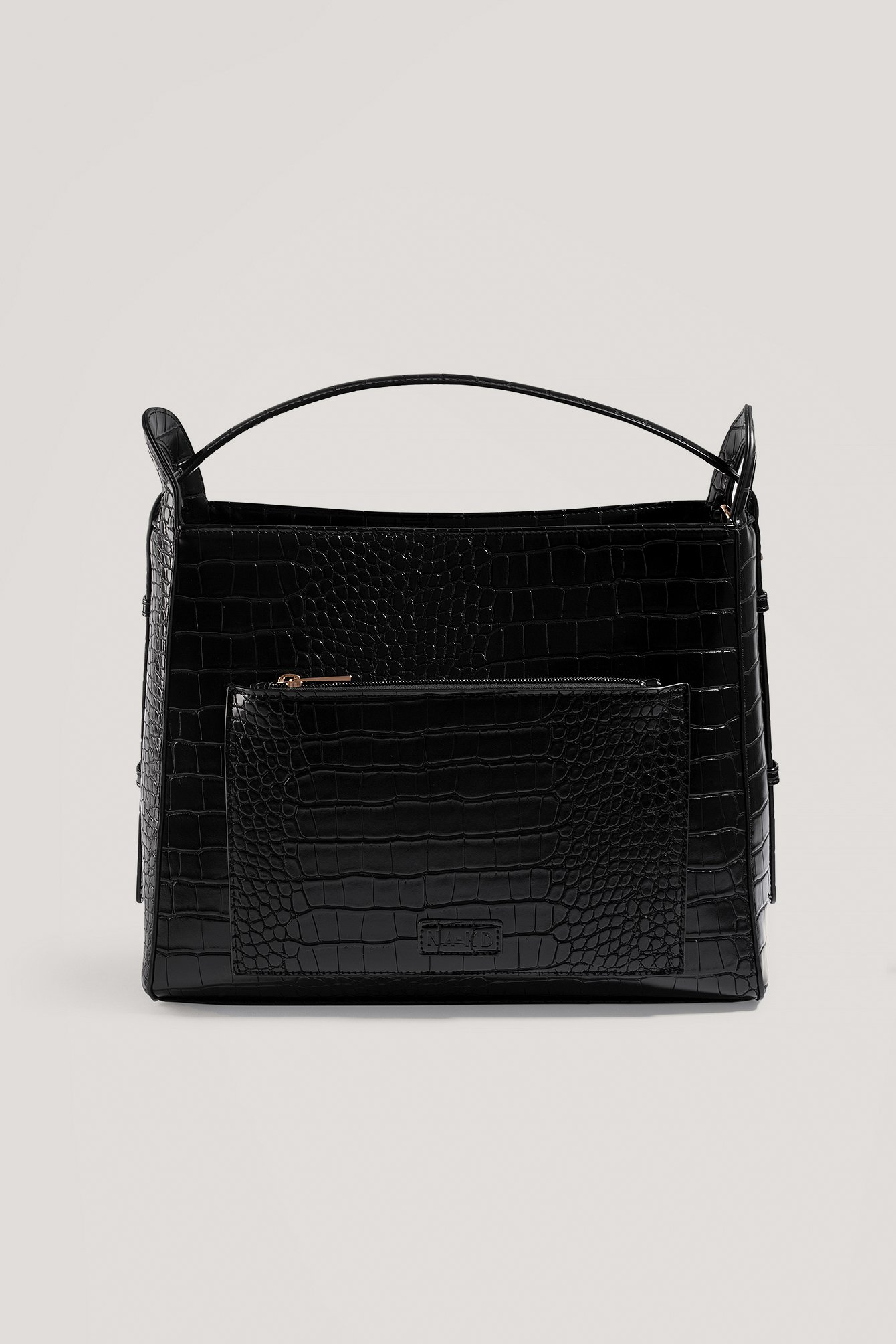 Black Big Croc Shopper Bag