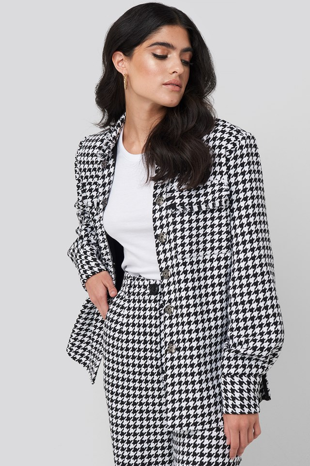 Big Dogtooth Pocket Jacket Black/White