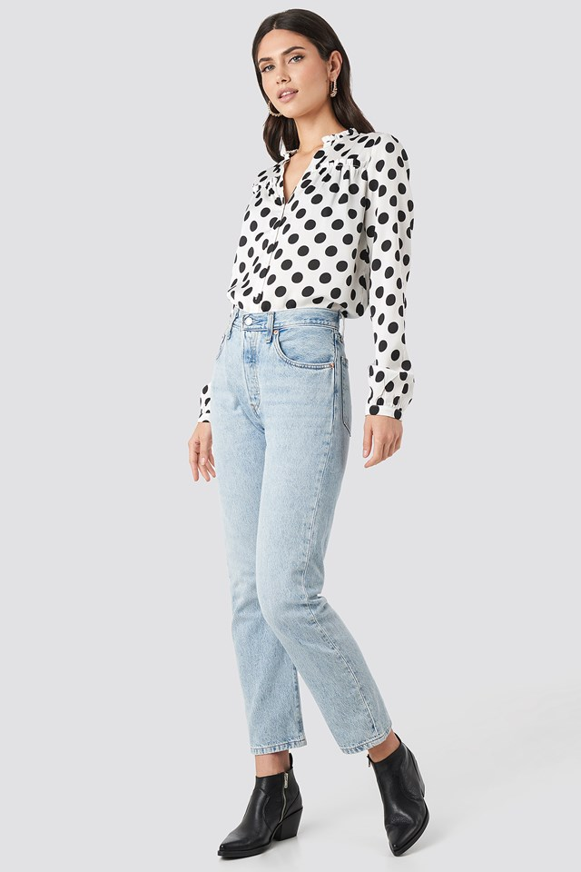 Big Dots Long Sleeve Blouse White/Black