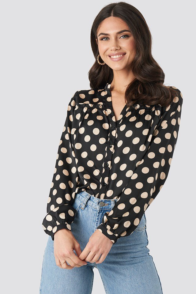 Big Dots Long Sleeve Blouse Black/Beige