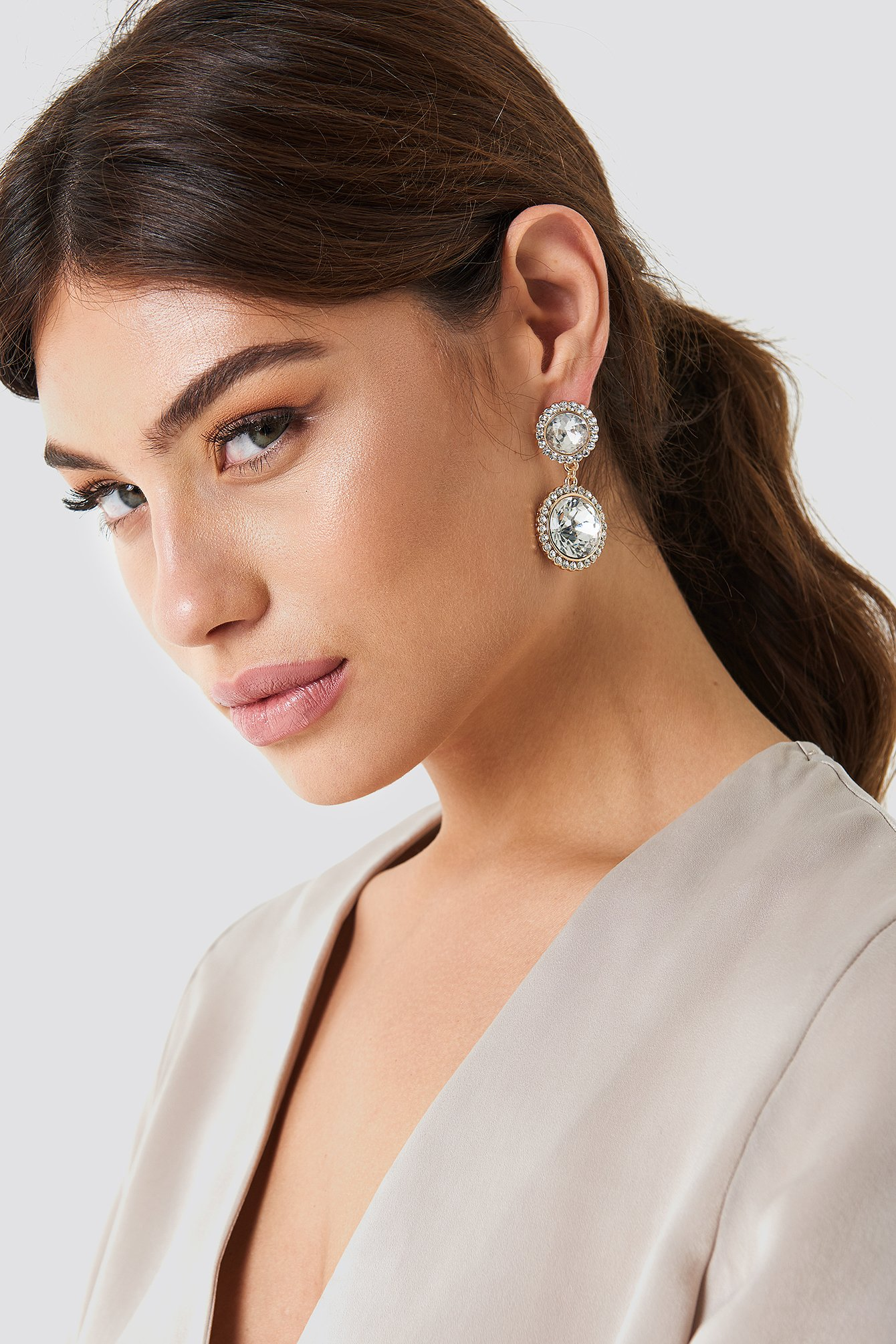 Big Double Cristal Earrings NA-KD.COM