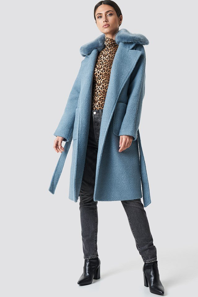 Big Faux Fur Collar Coat NA-KD Trend