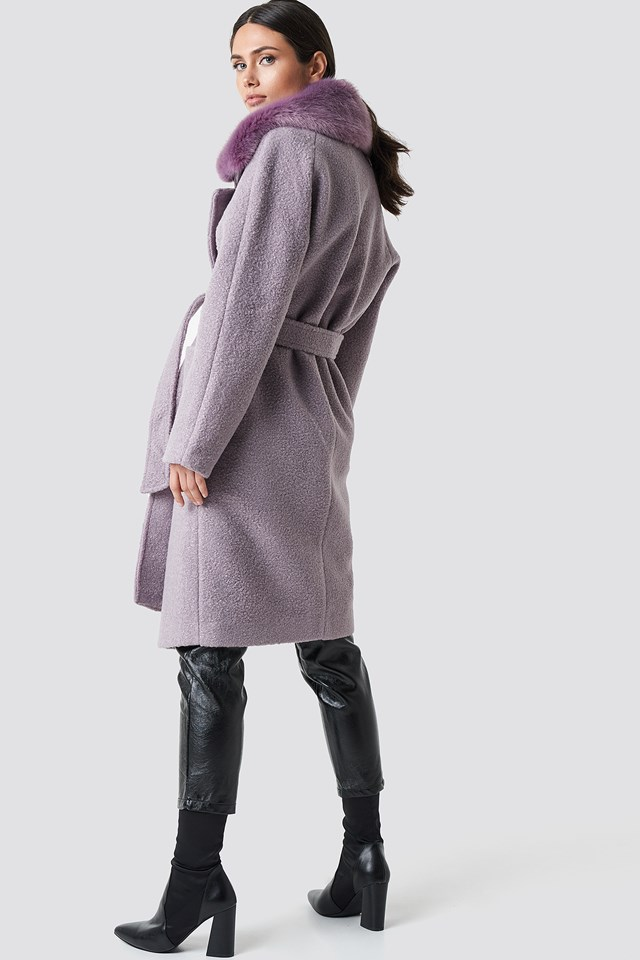 Big Faux Fur Collar Coat Dusty Purple