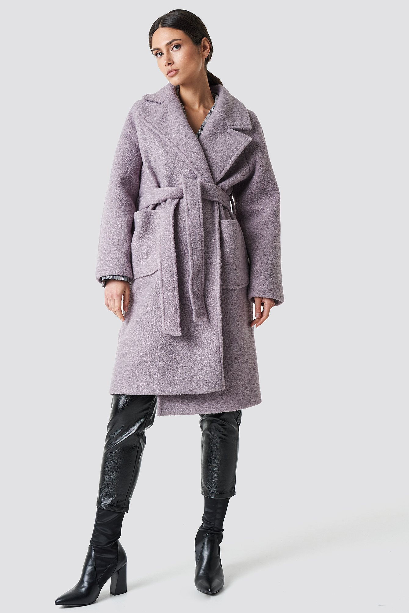 Big Faux Fur Collar Coat NA-KD.COM