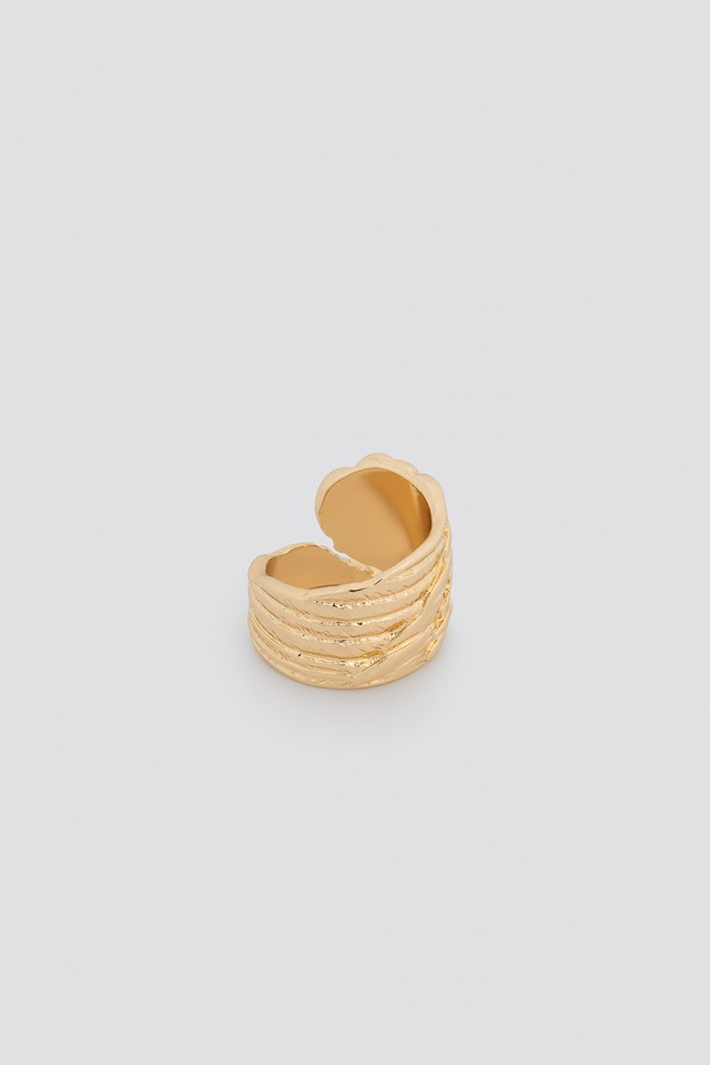 Big Feather Ring Gold