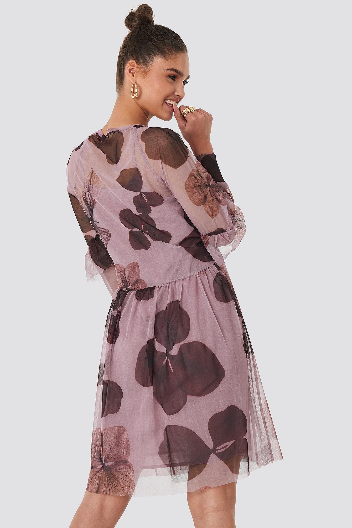 Big Flower Print Mesh Dress NA-KD.COM