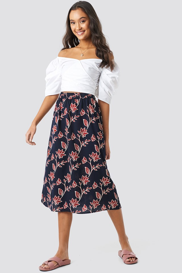 Big Flower Print Midi Skirt Dark Blue