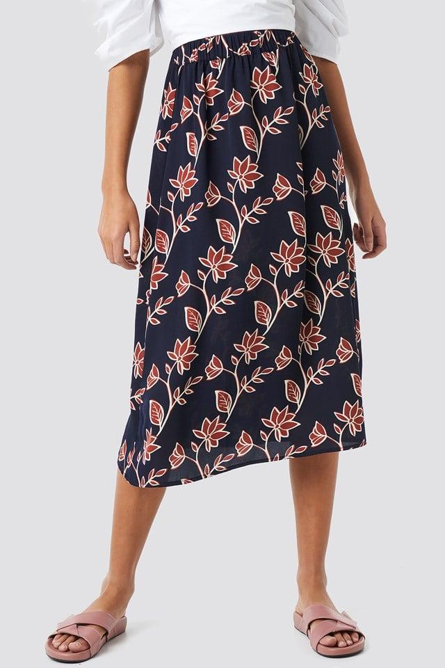 Big Flower Print Midi Skirt NA-KD.COM