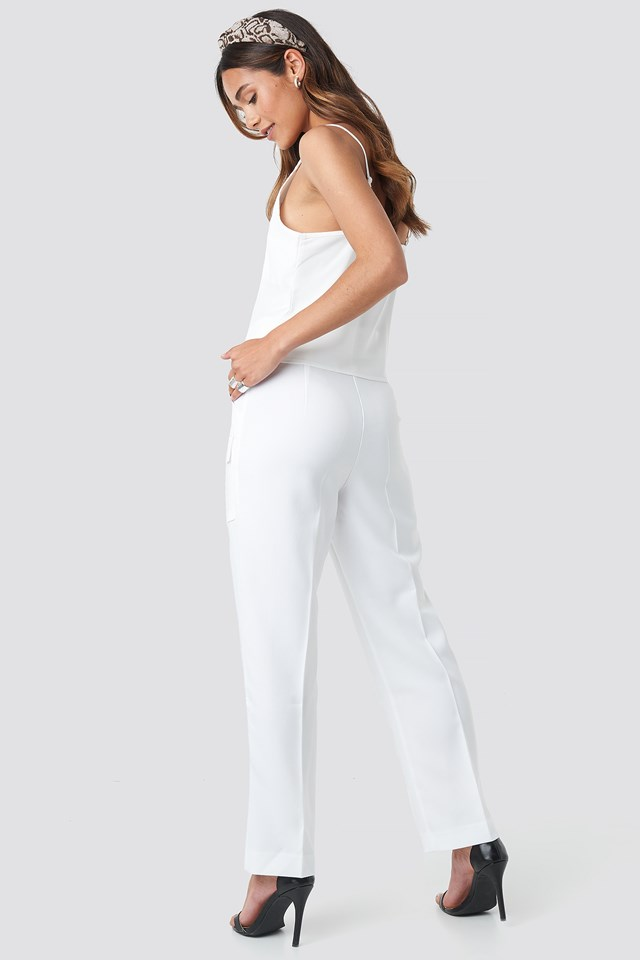 Big Front Pocket Pants White
