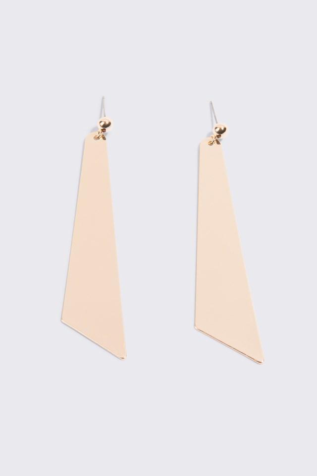 Big Geometric Drop Earrings Gold