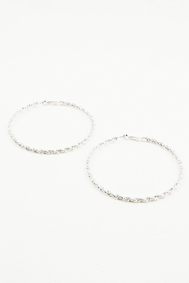 Big Hoop Braided Earrings Silver