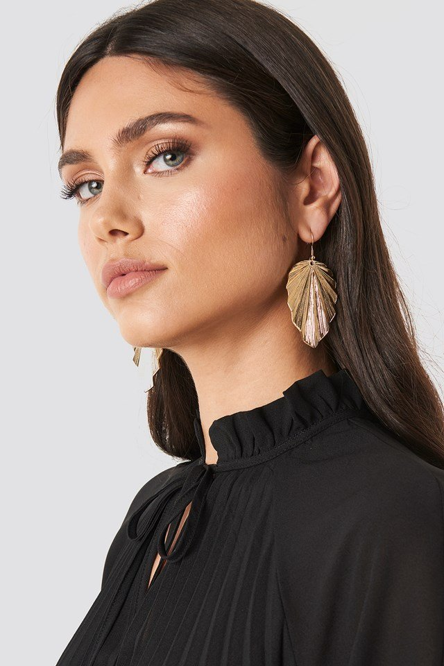 Big Leaf Drop Earrings Gold