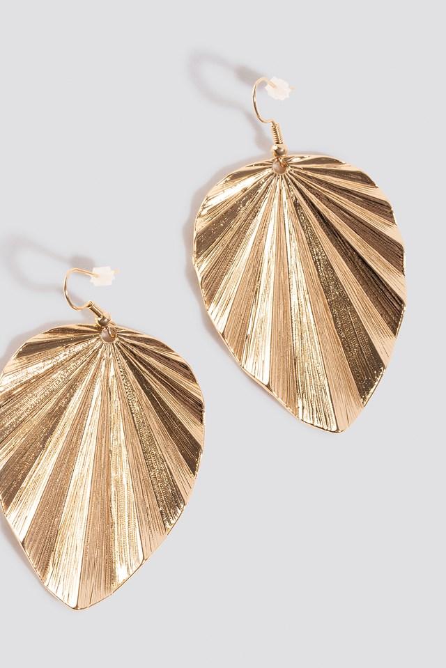 Big Leaf Drop Earrings Gold