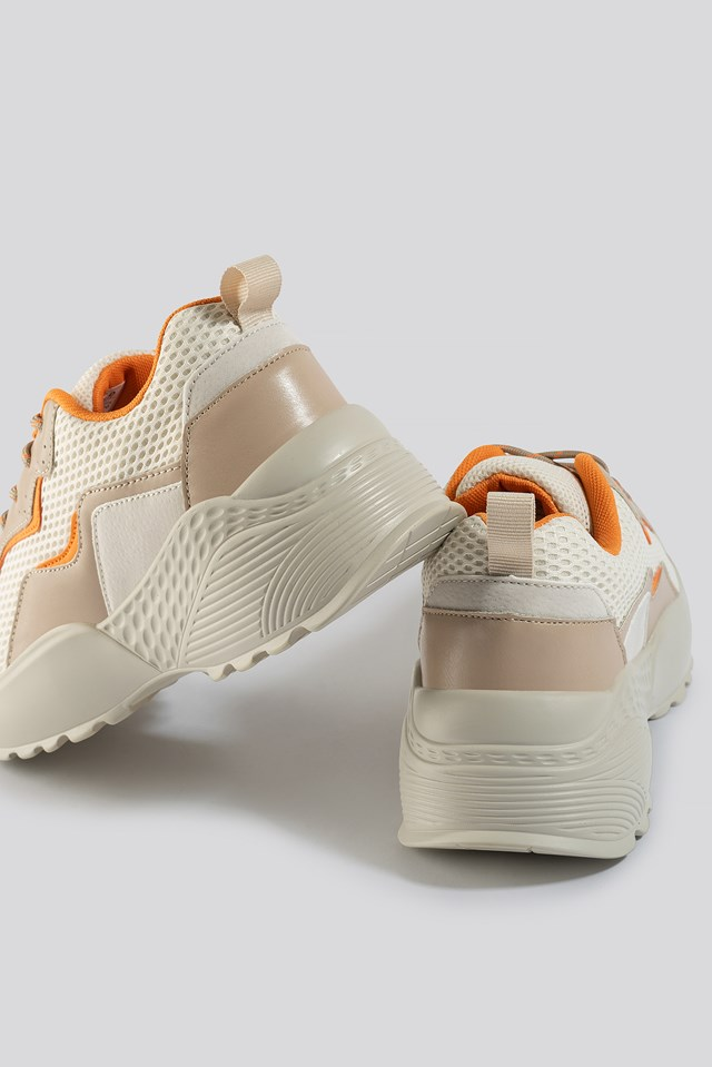Big Mesh Rubber Detail Trainers Orange Mix
