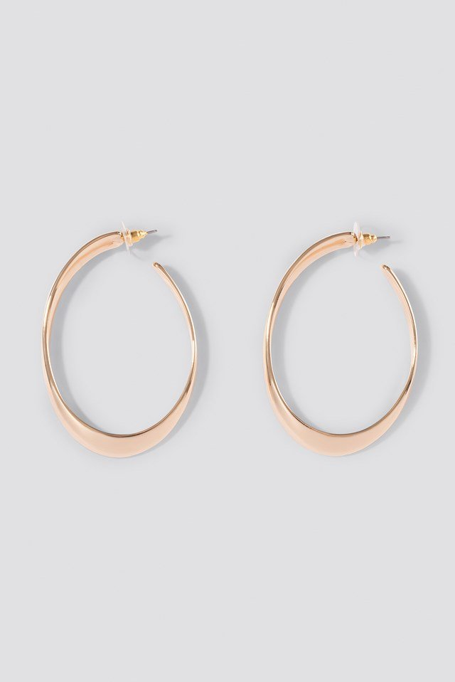 Big Oval Uneven Hoops Gold