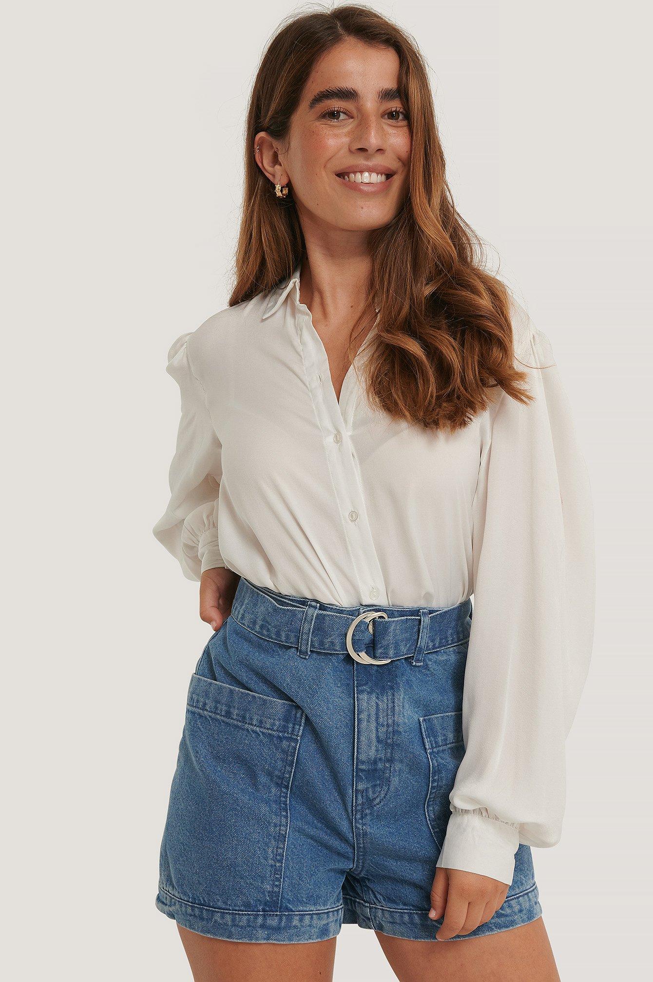 na-kd -  Hochgeschnittene Shorts Mit Taschendetail - Blue